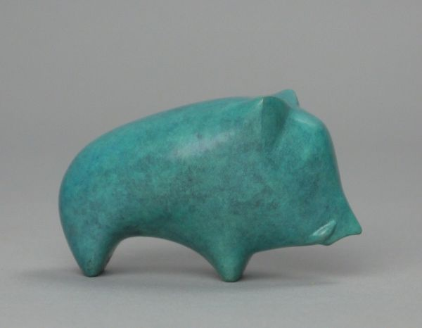 Bronze Wild Animals and Wild Life sculpture by artist Stephen Page titled: 'Boar (bronze Blue Little Small LittleStylised abstract statuette statue)'