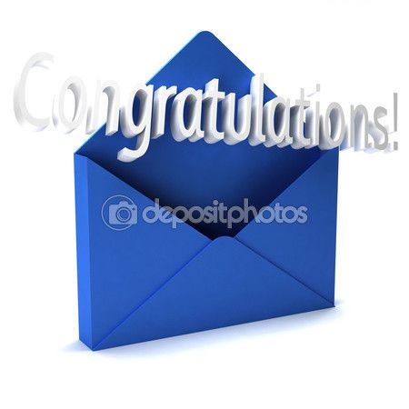 3D Congratulations word in blue envelope — Stock Image #74170515