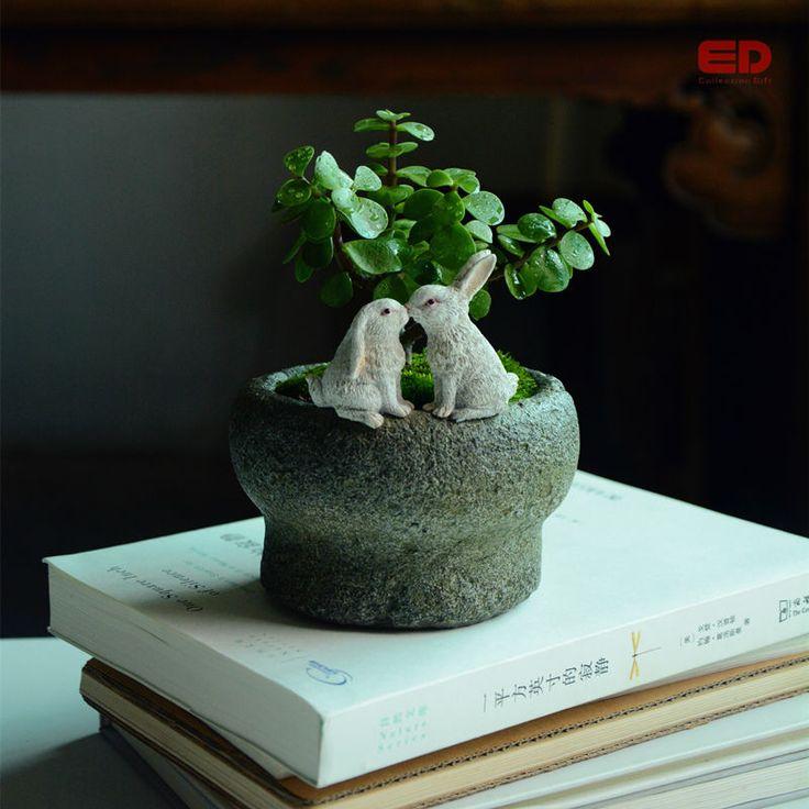 ЭД оригинальное качество дизайн сказочный сад террариум поцелуи кроликов на функциональные каменный горшок для суккулентов на открытом воздухе