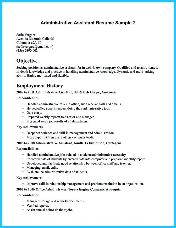 Sample Administration Resume Pinterest  Resume For Administrative Position