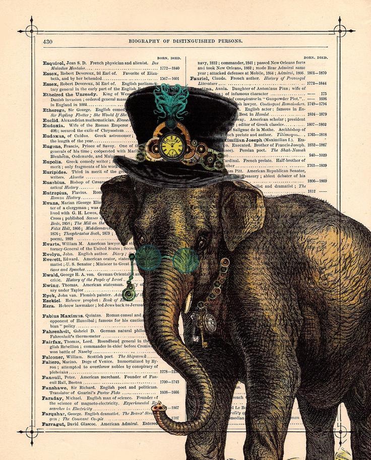 Antique Elephant Steampunk illustration   { love ...