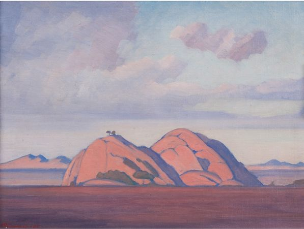 Jacob Hendrik Pierneef; Extensive Landscape with Rocky Outcrop