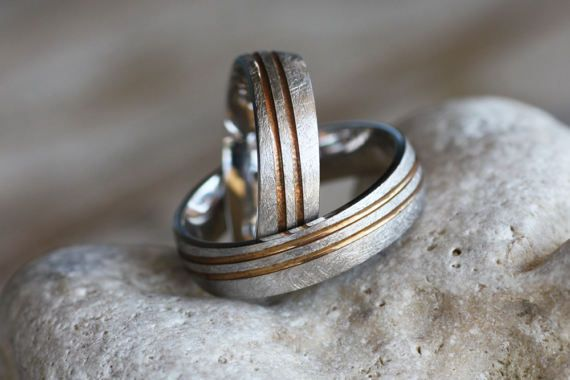 Wedding band/Two tone Wedding bands /White Gold ring /Yellow Gold ring/Personalised ring/Engagement rings/Woman'sWedding band/Man's ring