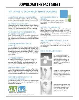 Female condom information