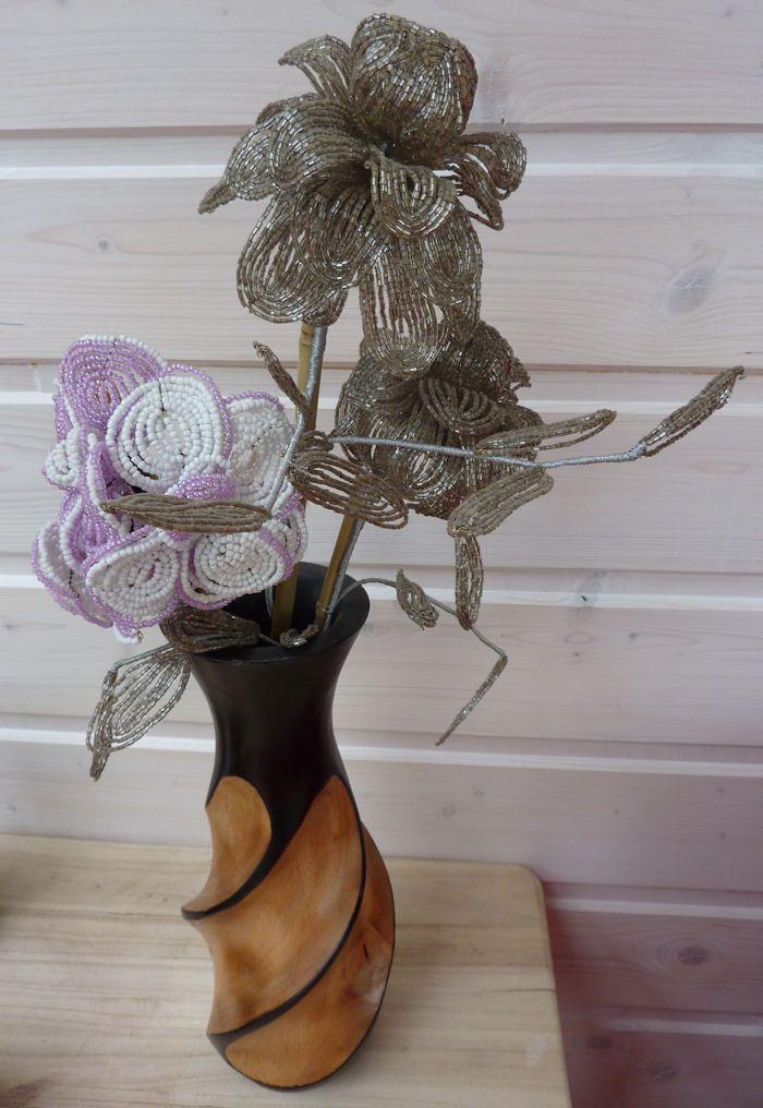 Composition 3 Rose argent et fleur