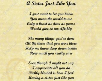 Wedding Gift For Older Sister : ideas about Sister Poems on Pinterest Love my sister, Heart sisters ...