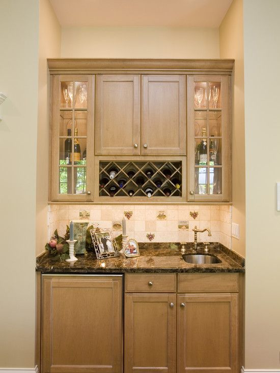 Built In Bar Minus The Sink I Really Like That Wine Fridge Has Cabinet Finish On It New House Pinterest Bat Kitchen And