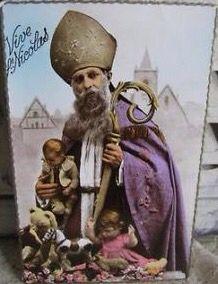 Antieke Franse Sinterklaaskaart.