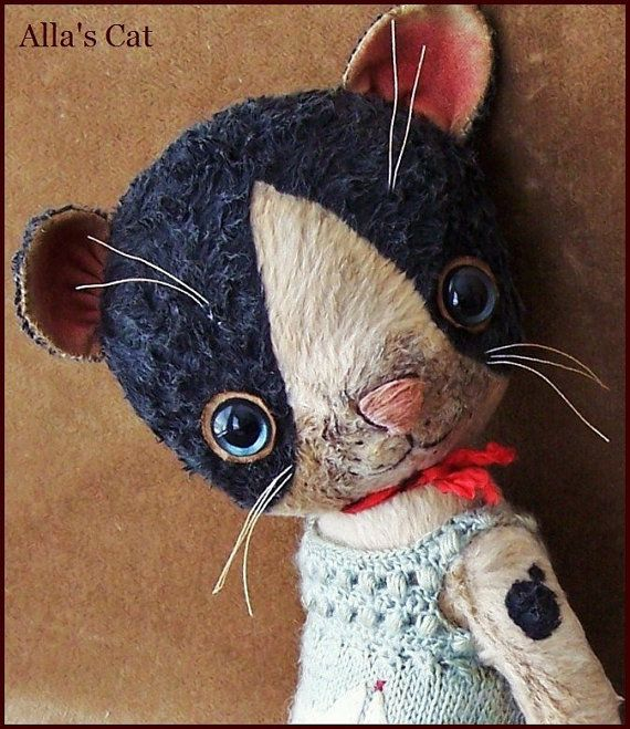 "By Alla Bears TINY original 7.75"" artist OOAK Vintage Old Prim Cat kitten toy doll Summer Whimsical baby boy on Etsy, £163.47"