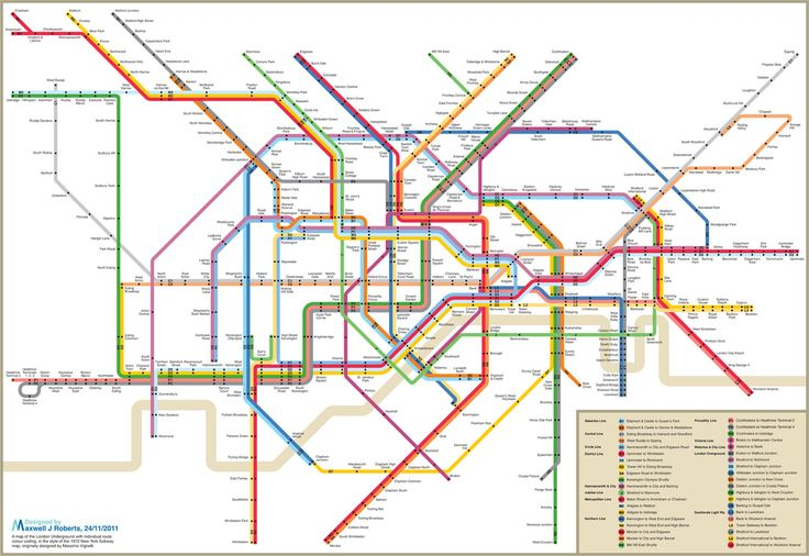 Transit Map of the London Underground (Tube). Vignelli style, lots of colors.