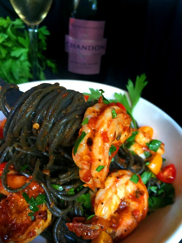 Fiery Shrimp fra Diavolo with Squid Ink Pasta                                                                                                                                                                                 More