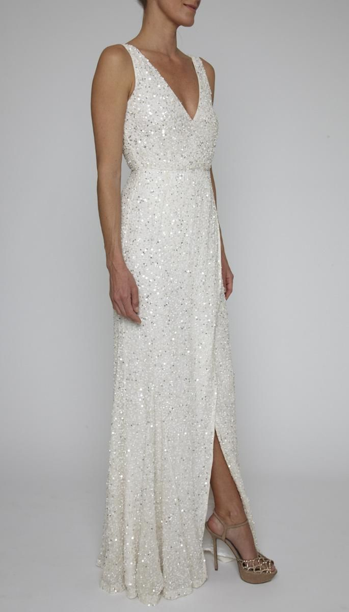 Now in white!  Pretty, sparkly, but still quite simple....  WHITE 13RG6715 | PIA GOWN | | Clothing | Rachel Gilbert