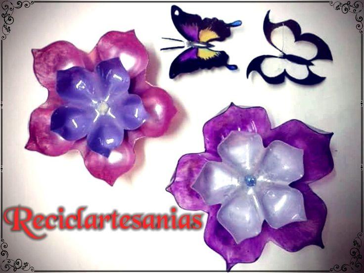 Flores y mariposas con botellas pet
