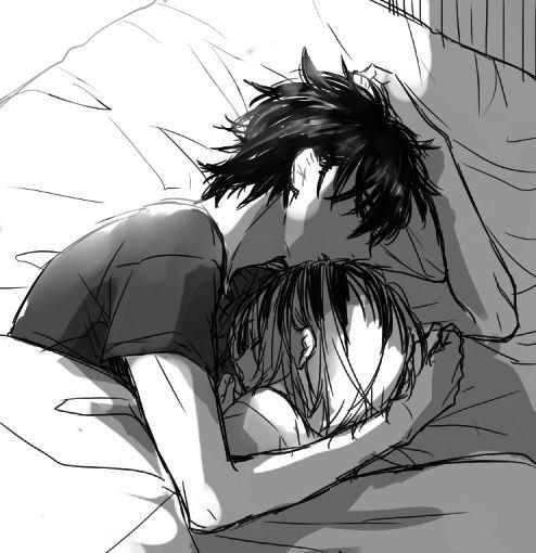 Resultado de imagen para anime girl hug boy sleep