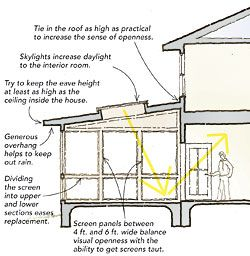 Tips on building a screened-in porch.  Thanks, FineHomebuilding.com!