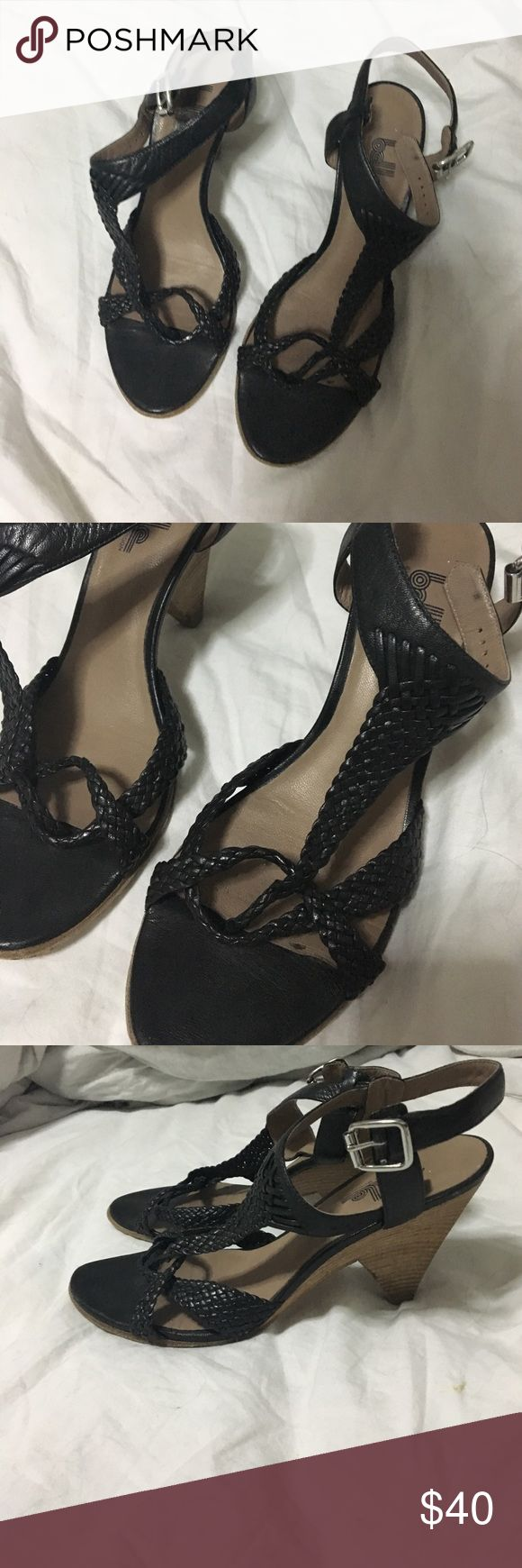 Belle by Sigerson Morrison heels Heeled sandals from Belle by Sigerson Morrison in a black braided leather. Perfect for summer! Minor wear from use. Belle by Sigerson Morrison Shoes Sandals