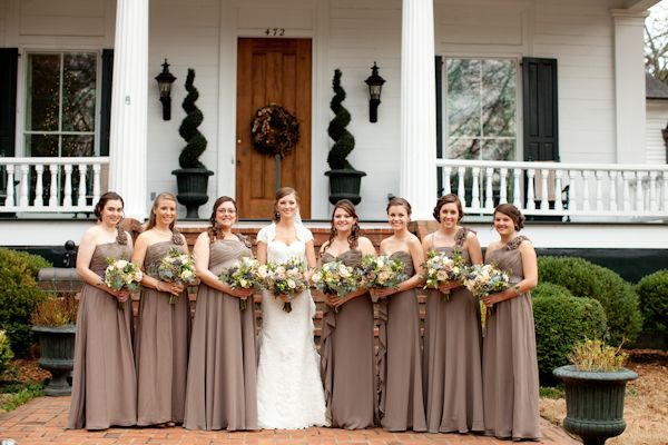 light brown bridesmaid dresses - different necklines