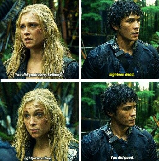 Bellamy and Clarke from CW's The 100. This was one of my favorite moments with them. They're such parents.  Bellarke  The 100 Season Finale 