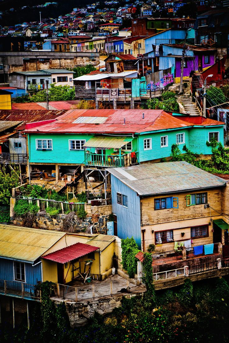 Valparaiso Hillside by Sean Scanlon on 500px - The color houses and shanties of the UNESCO World Heritage city of Valparaiso stretch along the hills. Chile