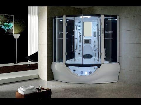 Valencia Steam Shower Sauna With Jacuzzi Whirlpool Massage Bathtub, White - Modern - Steam Showers - by maya bath