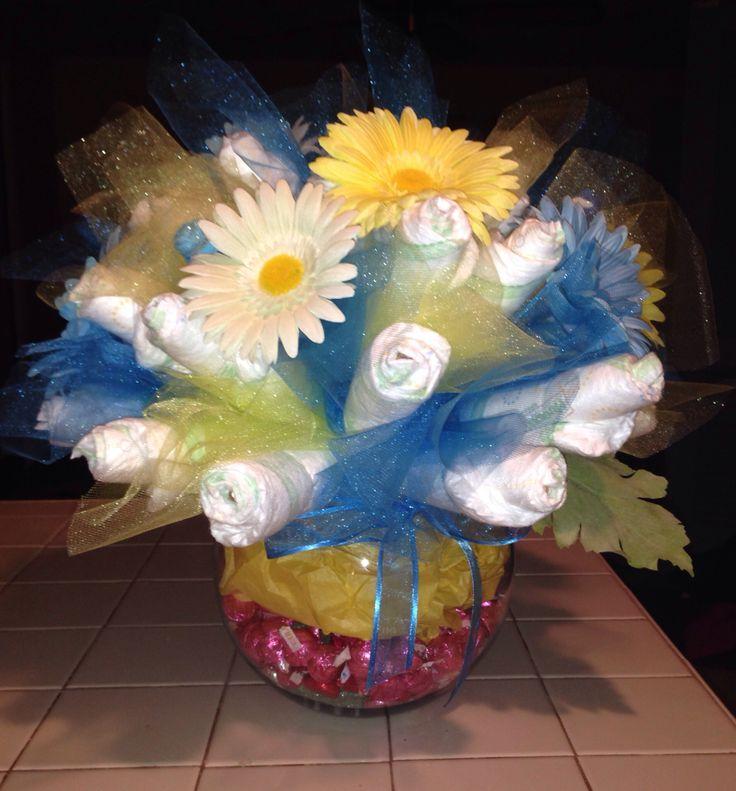 Diaper Vase Centerpiece : Best diaper flower bouquets ideas on pinterest