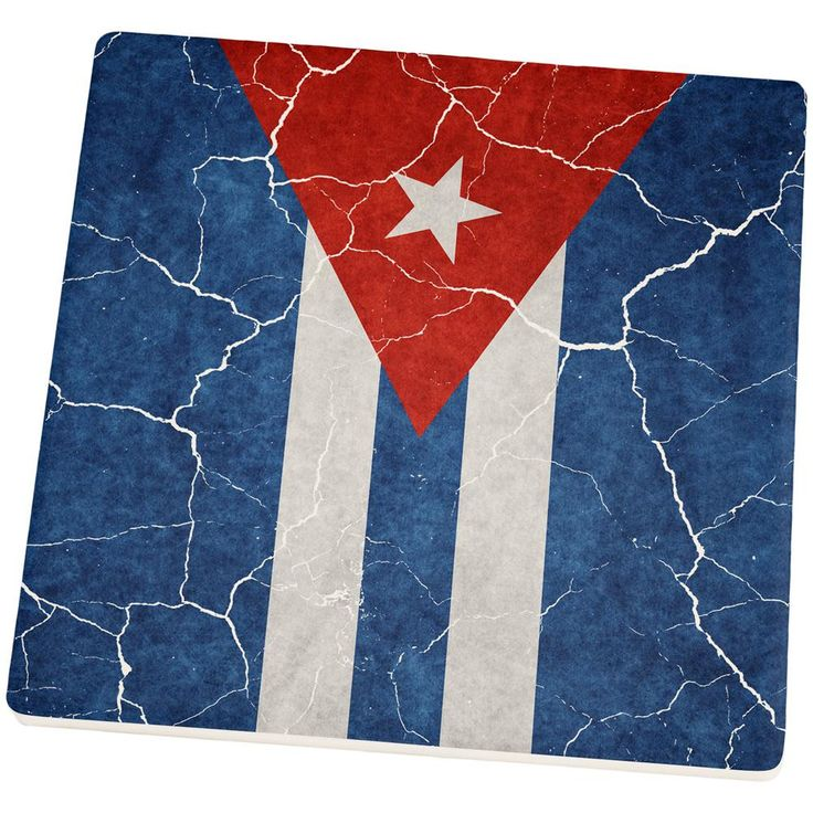 Distressed Cuban Flag Set of 4 Square Sandstone Coasters