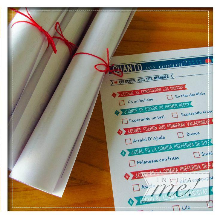 Cuánto conocés a los novios? Cuestionarios para descontracturar las mesas de los invitados! hola@invita-me.com.ar