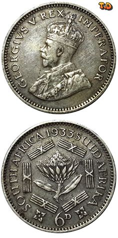 N♡T. 1933 South Africa - SILVER 6 Pence - George V