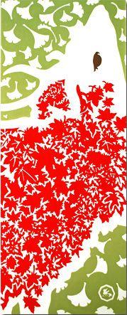Tenugui dedicato alle foglie rosse d'acero e al Ginkgo biloba