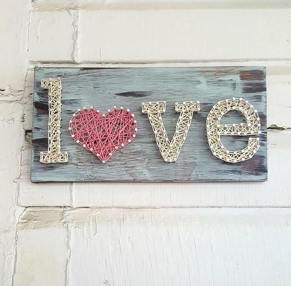Love String Art – Love Sign – Love Home Decor – Love String and Nail Art – Gifts For Her – Farmhouse String Art – Valentine Day Gift