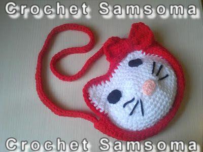 Bolso para niña de Hello Kitty Hello Kitty Purse كروشيه حقيبة هيلو كيتي  Bolso hello kitty  how to crochet hello kitty purse