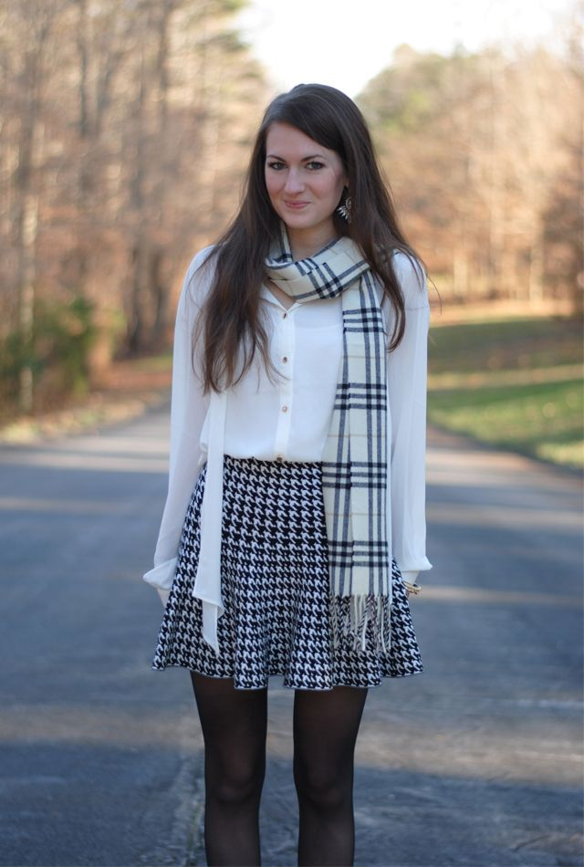 Southern Curls & Pearls: Winter White + Houndstooth