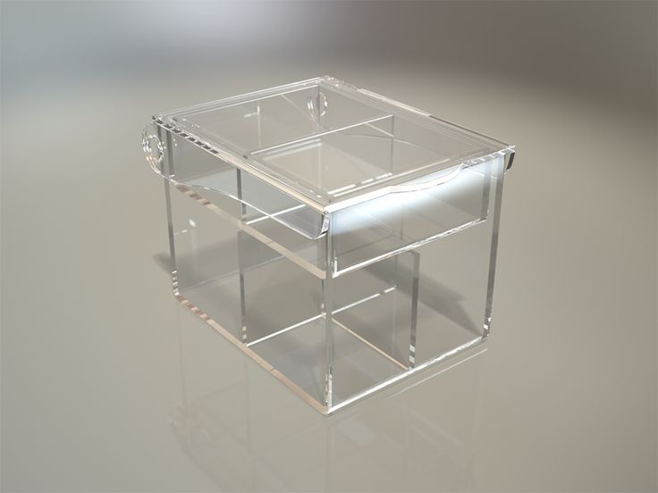 This counter top standing storage organizer is manufactured in high quality clear Plexiglas acrylic. This style organizer has an open top storage area with multiple divisions allowing for large items to be stored. The unit includes two pull out storage drawers with two lose fitting slide inserts for your own personal storage layout.