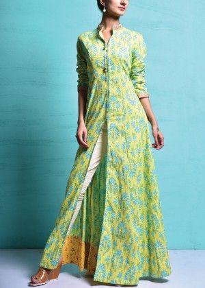 Yellow Cotton Tunic #Shop #Now #Tunics #Anarkalis #By #Vasansi #Jaipur