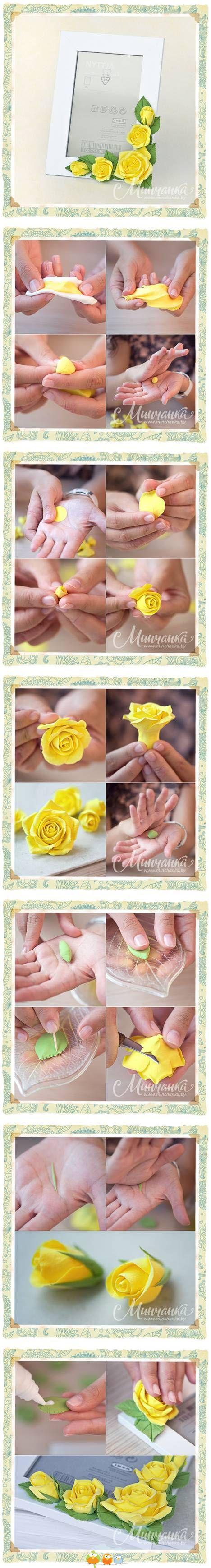 como hacer una flor en porcelana fria
