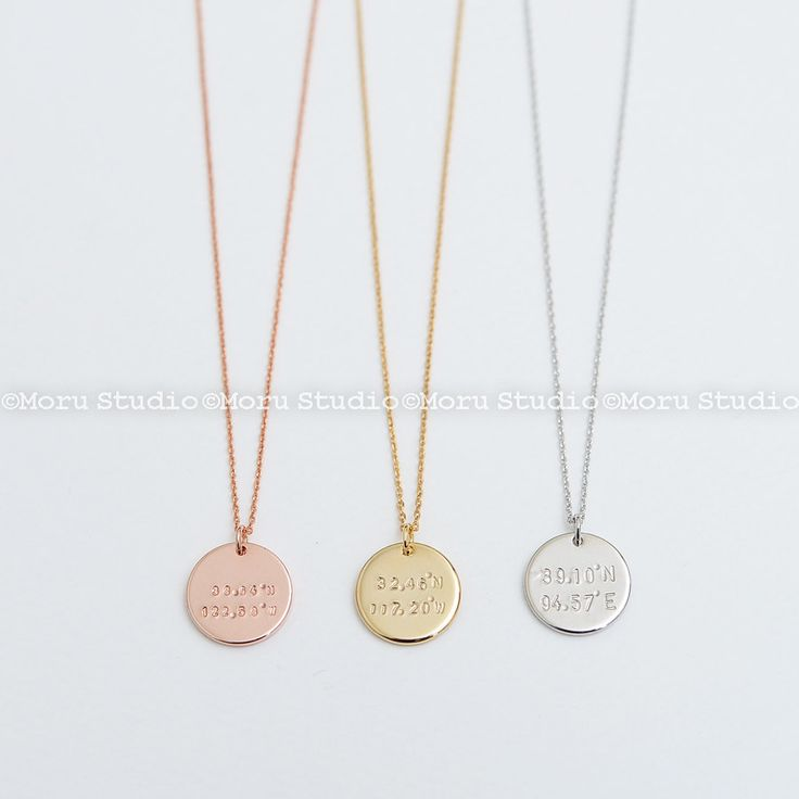 Personalized Coordinates Disc Necklace/ Custom Latitude & Longitude Disc Tag, Disk Necklace, Hand Stamped, Location Necklace Moru NCR104 by MoruStudio on Etsy