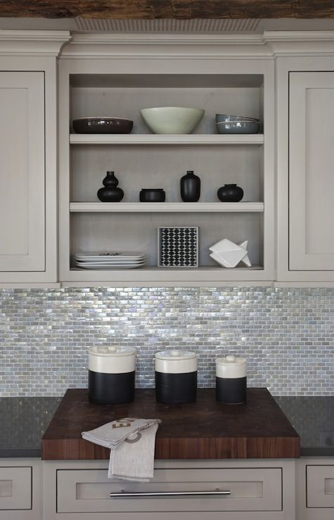 Suzie: Papyrus Home Design - Shiny, sparkly kitchen with light gray kitchen cabinets with ... THAT BACKSPLASH!