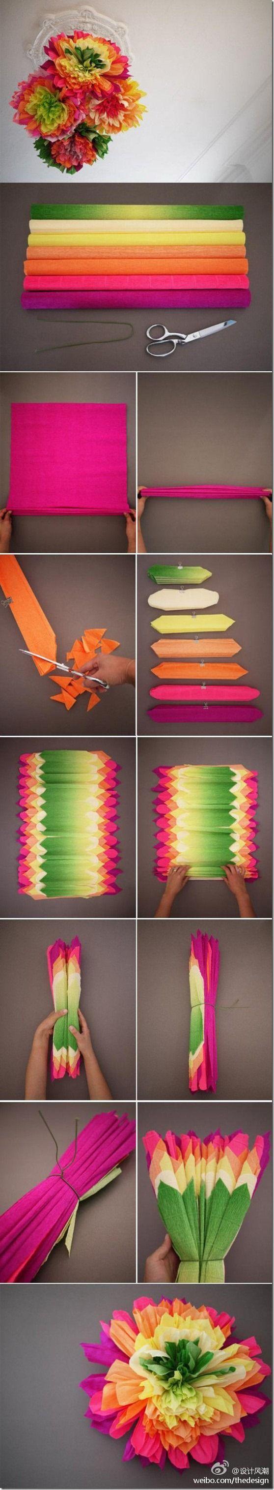 Multi-colored tissue paper pom pom flowers