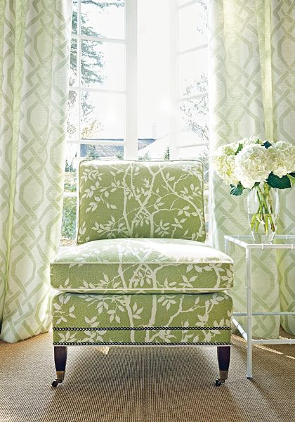 Sylvan Leaves woven fabric in Kiwi and Seagate woven fabric in Kiwi from the Portico collection. #Thibaut