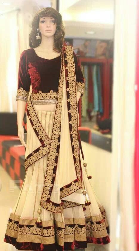 Red n cream lehenga