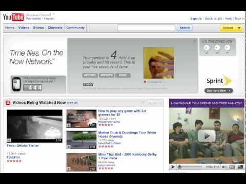 Sprint Now Clock YouTube Homepage Ad