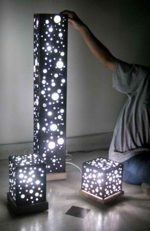 DIY lights, these would be nice centerpieces or along window ledges- - - or candle boxes shaped liked this....hmmm
