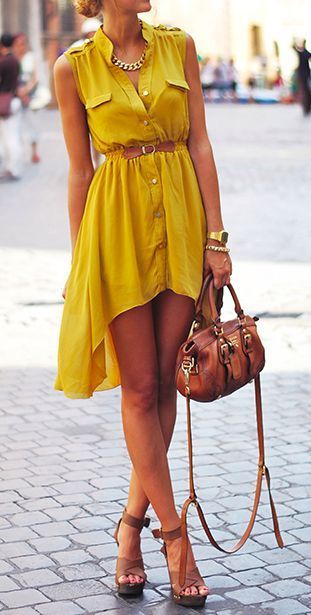 Mustard high low summer dress   More outfits like this on the Stylekick app! Download at http://app.stylekick.com