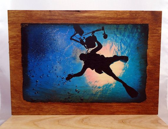 Photo on wood diver on plywood. by VipWood on Etsy
