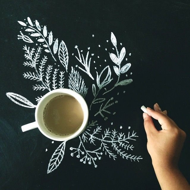 Beautiful Chalk Art and of course.....The Necessary Cup of Tea...........
