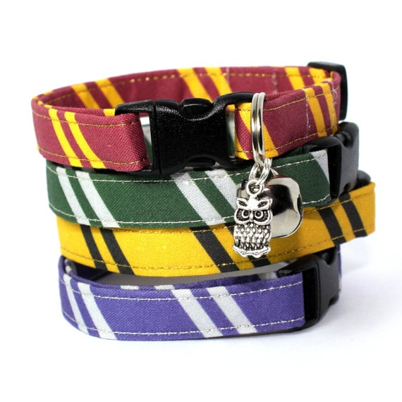 Wizard Breakaway Cat Collar with Owl Charm by MogsTogs on Etsy, $11.00