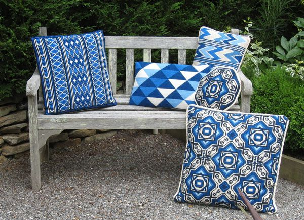 Correlated cross-point pillow kit patterns - read more about Color Schemes - Summer - Sea and Sky on our blog