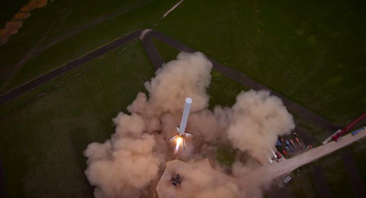 A SpaceX Falcon 9 Reusable rocket prototype lifts off on a debut launch and landing test in McGregor, Texas in this aerial view from a drone video released by SpaceX on April 18, 2014. Original Image Credit: SpaceX