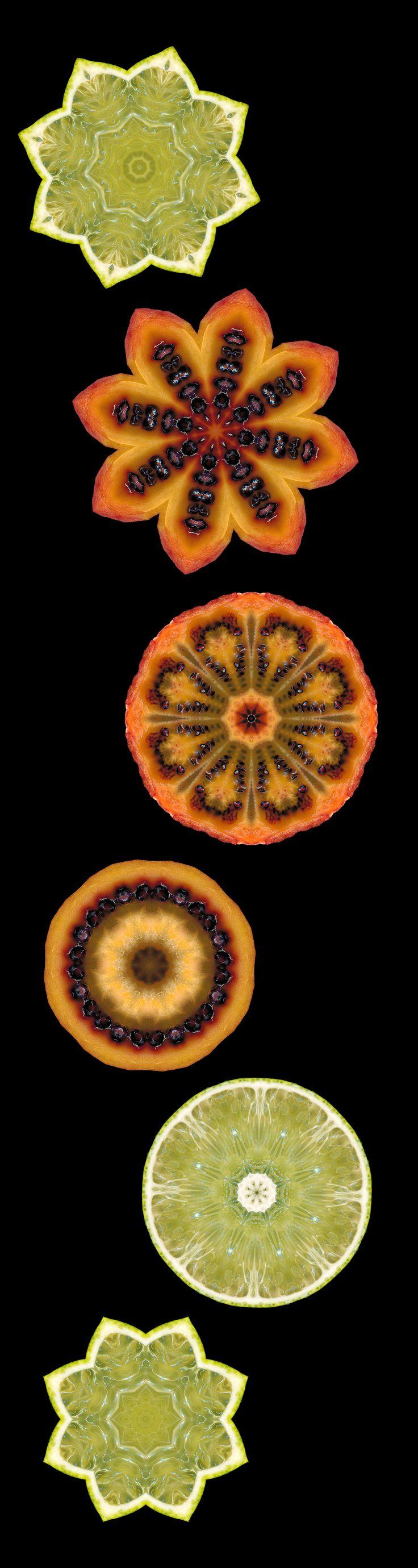 Kaleidoscans | Sash Segal | kaleidoscope images made from scanned lemons and tamarillos