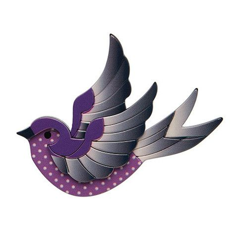 """Erstwilder Limited Edition Fancie Jo Sparrow Brooch. """"This is the tale of Fancie Jo Sparrow. From the day she was born she yearned for adventure. What a brave little bird!"""""""
